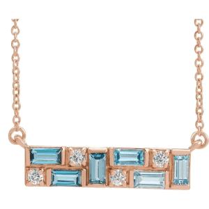 14K Rose Blue Multi-Gemstone & 1:8 CTW Diamond Bar Necklace from Leonard & Hazel™