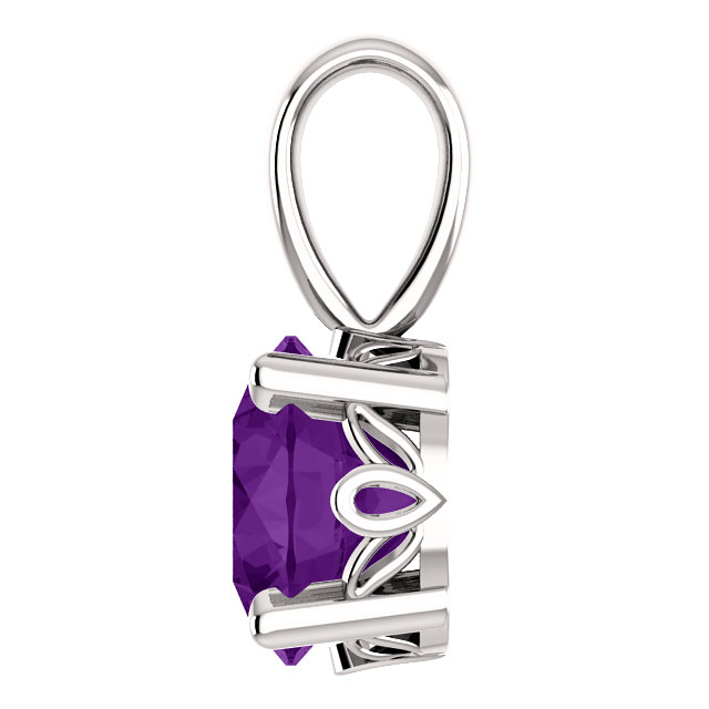 14K White Gold Amethyst Scroll Setting® Pendant