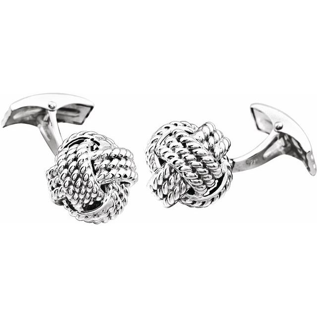 14K White Gold Knot Cuff Links from Leonard & Hazel™