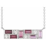 14K White Pink Multi-Gemstone & 1:8 CTW Diamond Bar Necklace from Leonard & Hazel™