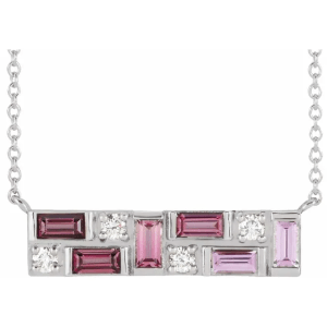 14K White Pink Multi-Gemstone & 1:8 CTW Diamond Bar Necklace from Leonard & Hazel™