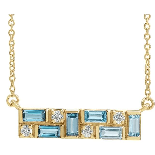 14K Yellow Blue Multi-Gemstone & 1:8 CTW Diamond Bar Necklace from Leonard & Hazel™