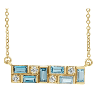 14K Yellow Blue Multi-Gemstone & 1:8 CTW Diamond Bar Necklace from Leonard & Hazel™
