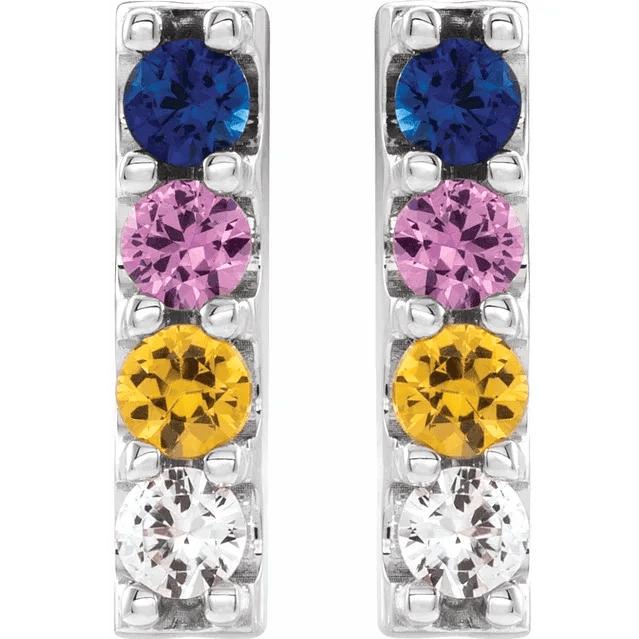 Platinum Multi-Color Sapphire Bar Earrings