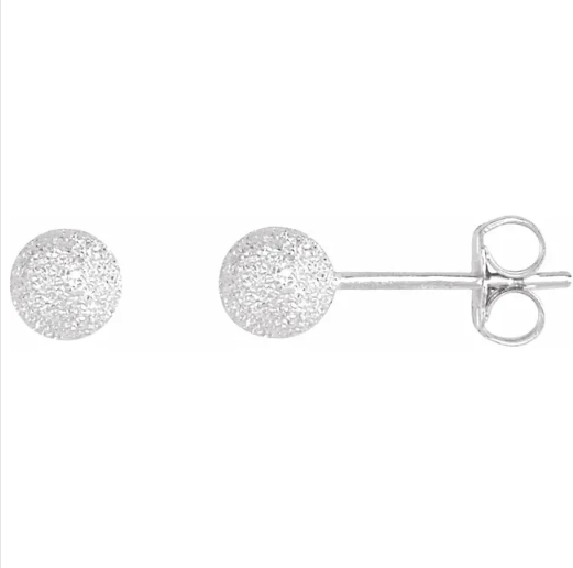 Sterling Silver 5 mm Stardust Ball Earrings from Leonard & Hazel™