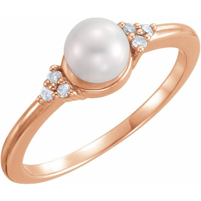 14K Rose Gold 5.5-6 mm Freshwater Cultured Pearl & .06 CTW Diamond Ring from Leonard & Hazel™