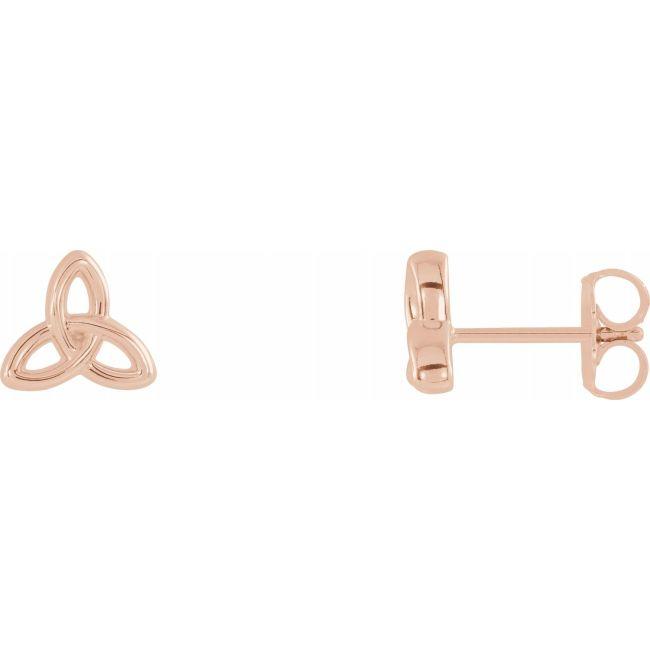 14K Rose Gold Celtic-Inspired Trinity Earrings from Leonard & Hazel™