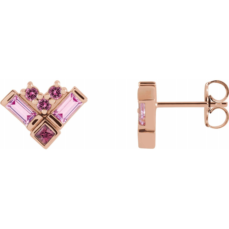14K Rose Gold Pink Multi-Gemstone Cluster Earrings from Leonard & Hazel™