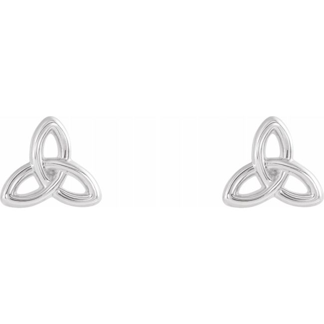 14K White Gold Celtic-Inspired Trinity Earrings from Leonard & Hazel™