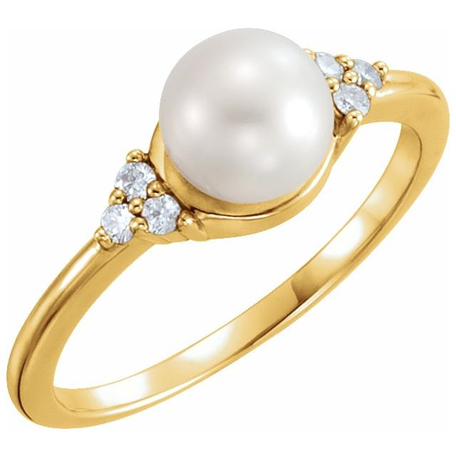 14K Yellow Gold 6.5-7 mm Freshwater Cultured Pearl & .09 CTW Diamond Ring from Leonard & Hazel™