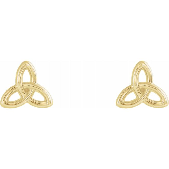 14K Yellow Gold Celtic-Inspired Trinity Earrings from Leonard & Hazel™