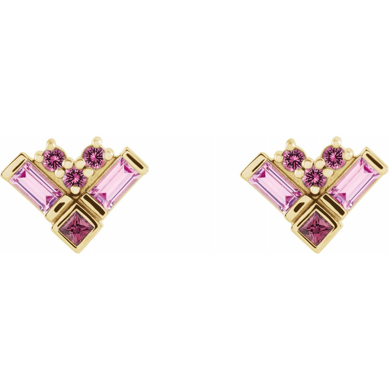 14K Yellow Gold Pink Multi-Gemstone Cluster Earrings from Leonard & Hazel™