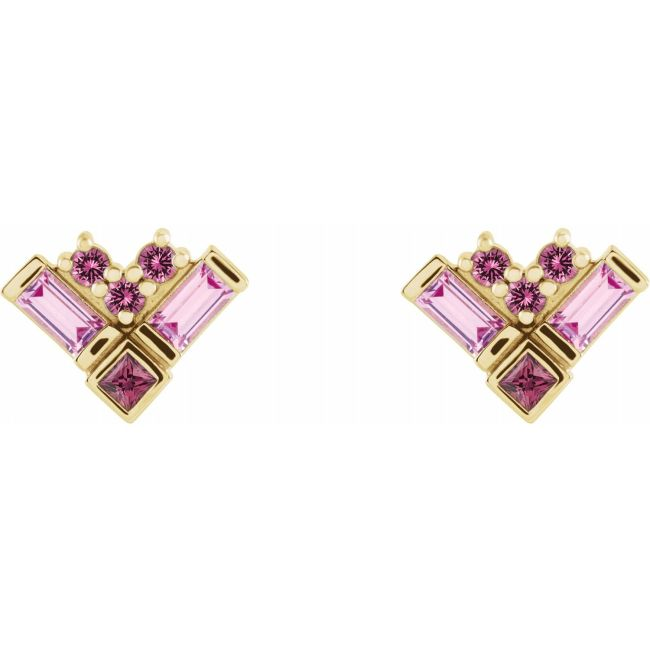14K Yellow Gold Pink Multi-Gemstone Cluster Earrings from Leonard & Hazel™