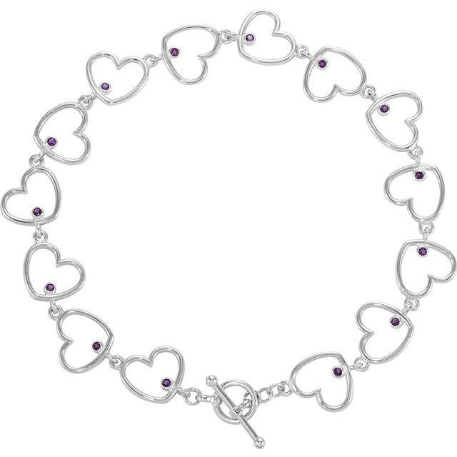 Amethyst Accented Sterling Silver Heart Link Bracelet from Leonard & Hazel™