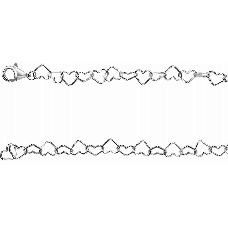 Sterling Silver 6mm Heart Link 7.25 Chain from Leonard & Hazel™