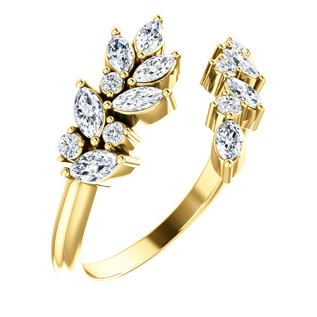 14K Yellow Gold 1:2 CTW Diamond Bypass Ring from Leonard & Hazel™