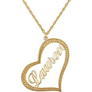 14K Yellow Gold Nameplate Heart Necklace from Leonard & Hazel™