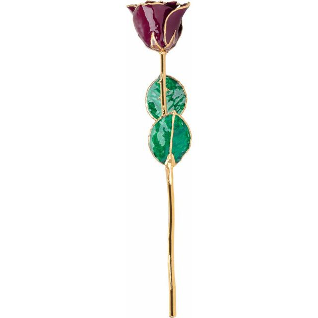 Lacquered Burgundy Rose with Gold Trim from Leonard & Hazel™