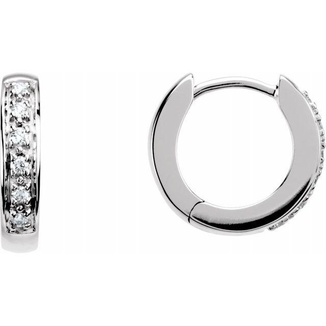 14K White 1:10 CTW Diamond Hoop Earrings