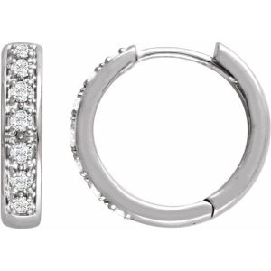 14K White 1:3 CTW Diamond Hoop Earrings