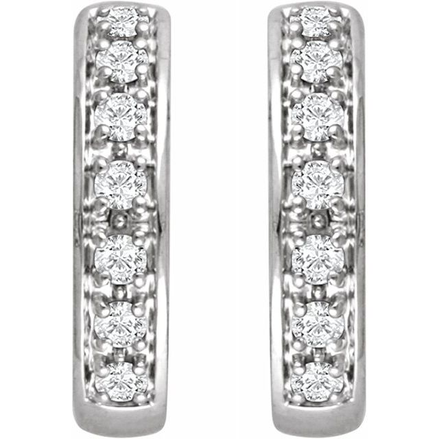 14K White 1:3 CTW Diamond Hoop Earrings