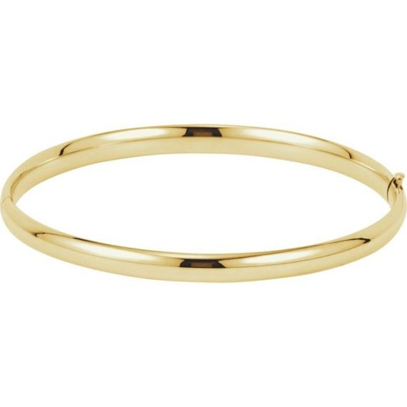 14K Yellow Gold 4.75 mm Hinged Bangle Bracelet