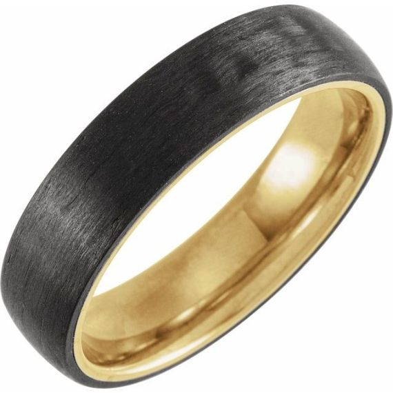 18K Yellow Gold PVD Titanium & Carbon Fiber 6 mm Half Round Band from Leonard & Hazel™