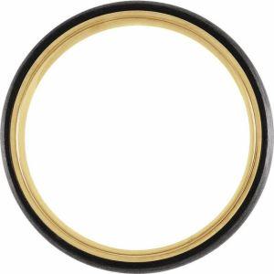 18K Yellow Gold PVD Titanium & Carbon Fiber 6 mm Half Round Band from Leonard & Hazel™