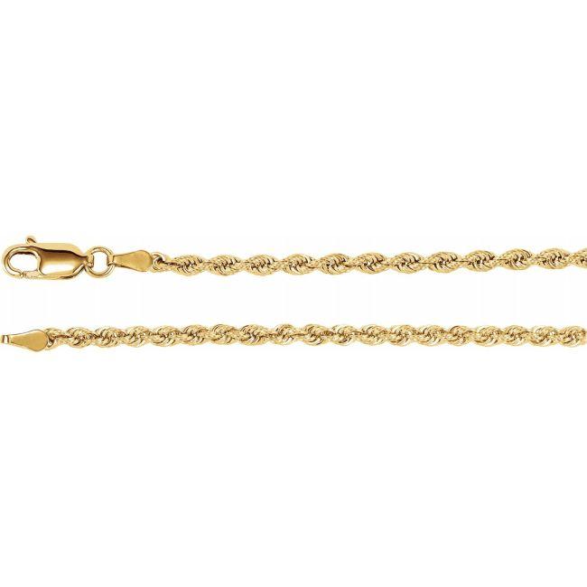 14K Yellow Gold 2.5mm Rope Chain