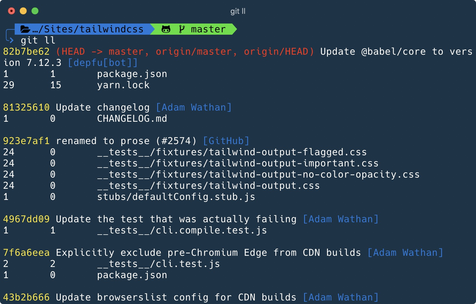 git ll example in the Tailwind CSS repository