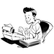 Fumetto dell'autore mentre scrive da ragazzo.