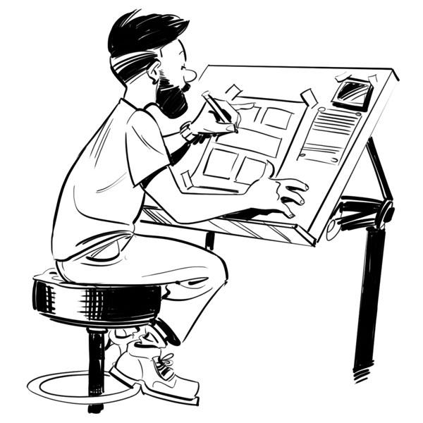 Fumetto dell'autore mentre disegna.... fumetti!