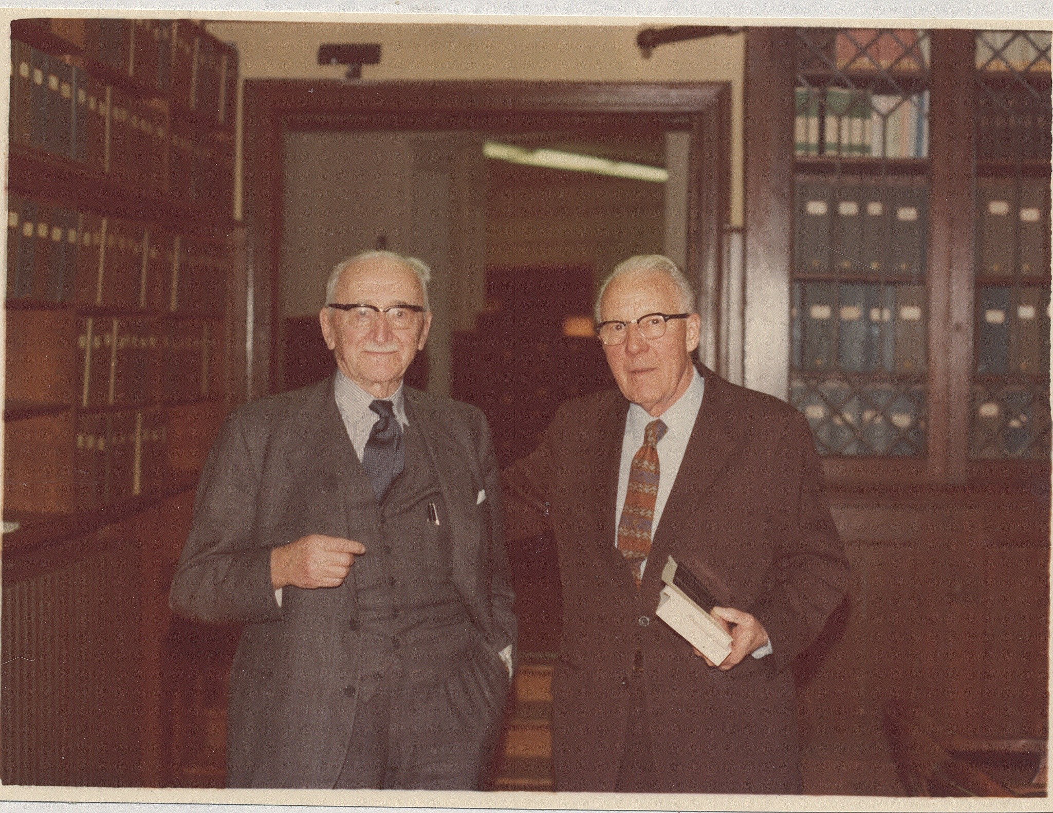 F A Hayek (left) with Leonard Read (right) in FEE's  Irvington Library