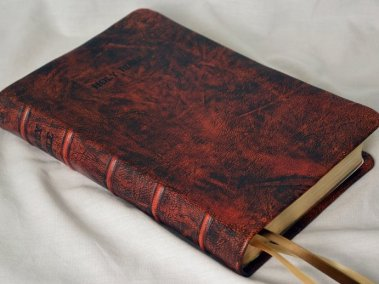 Saddle Tan Hand-Dyed Rustic Goatskin Bible