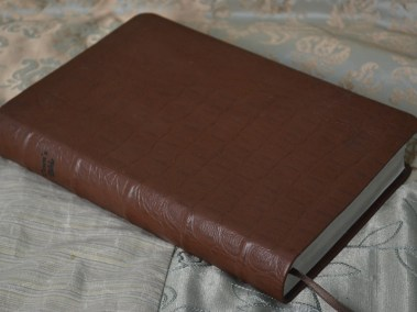 Matte Brown Alligator-Embossed Cowhide Bible