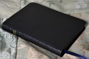 Thick and flexible--a Bible covered in our black pebble grain cowhide