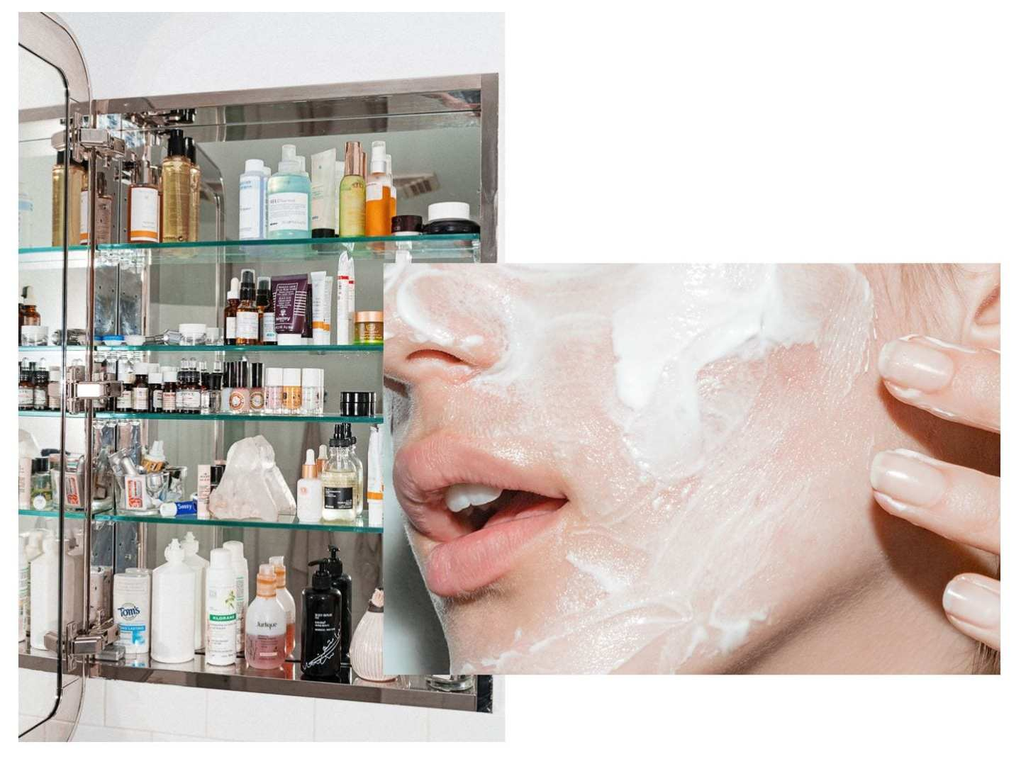 women with clear skin and a beauty shelf
