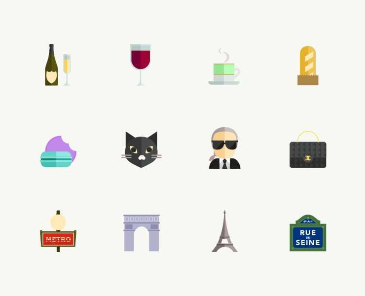 illustration of paris with chanel bag, eiffel tower, baguette, karl lagerfield