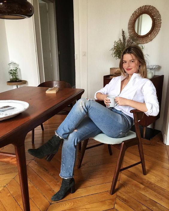 french girl with white button down shirt
