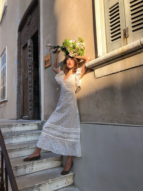jeanne damas with a french summer white dress