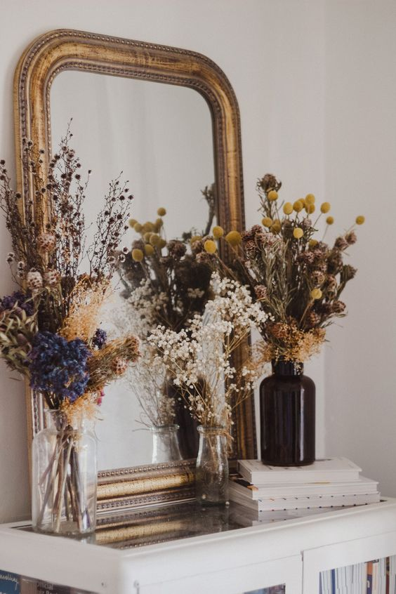 parisian apartment with dried flowers