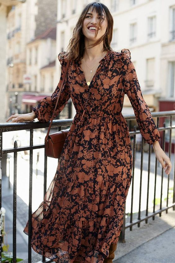french girl fall style long sleeves dress