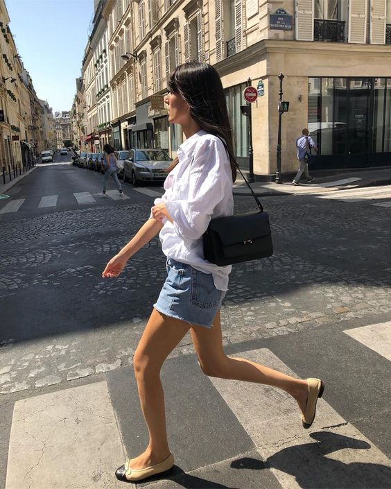 french girl with ballet flats