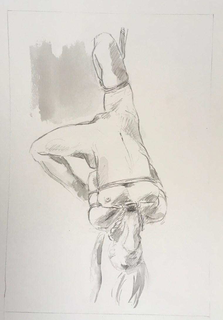 nude girl drawing shibari