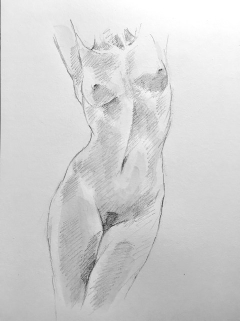 dancing snake nude drawing