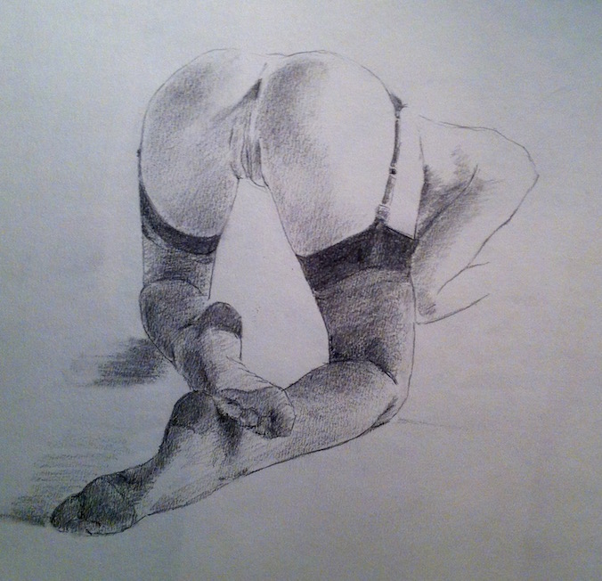nude girl drawing