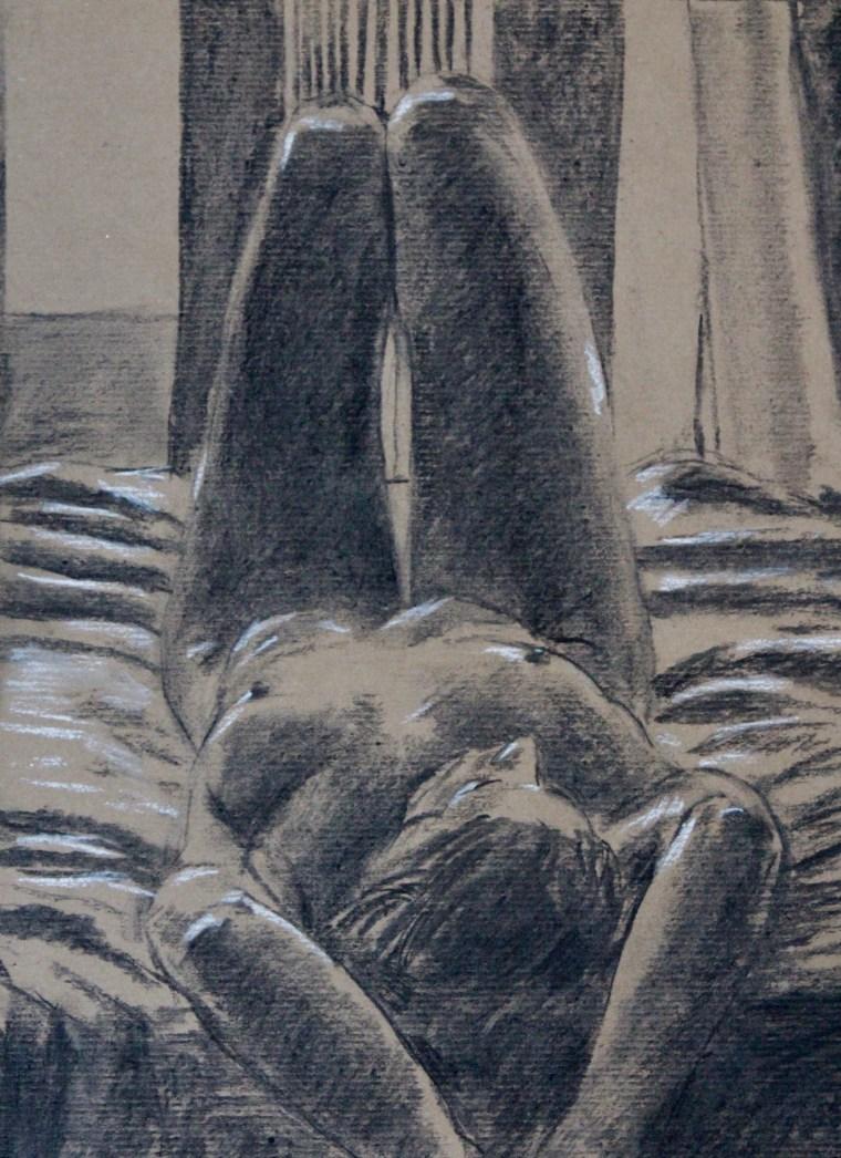 Nude drawing nude girl sketch bed erotic