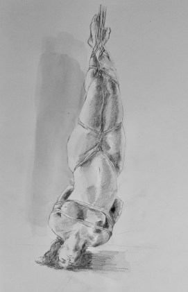 shibari nude girl drawing