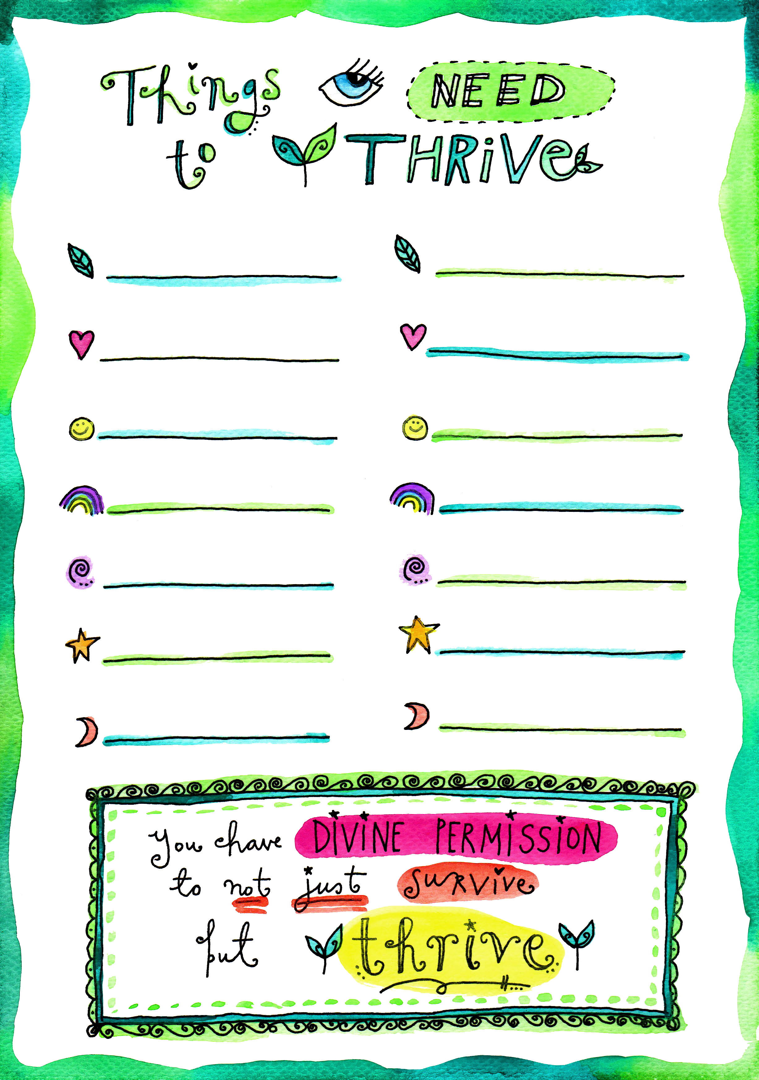 Things You Need To Thrive A Printable Worksheet