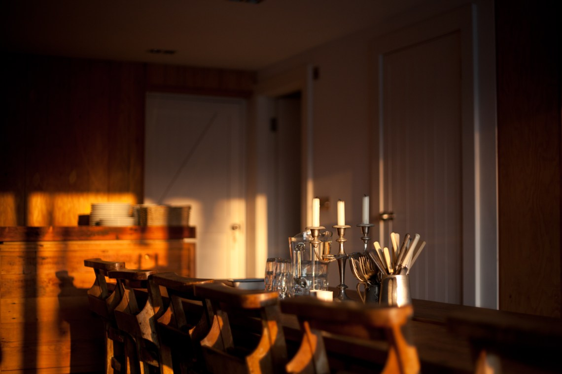Morning light in the dining room at Fforest Camp. By Leonie Wise